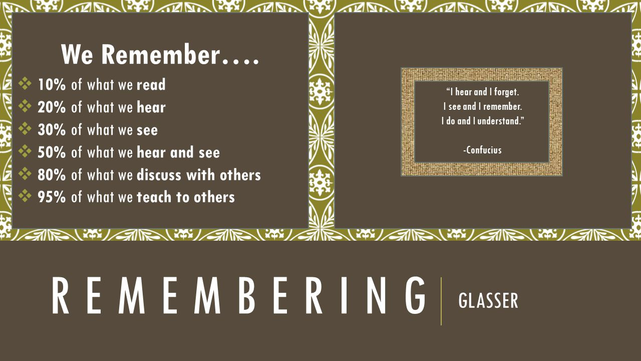 R E M E M B E R I N G GLASSER We Remember….