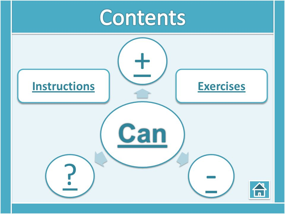 Can + - ? Instructions Exercises