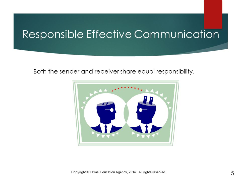 Responsible Effective Communication Both the sender and receiver share equal responsibility. 5 Copyright © Texas Education Agency, 2014. All rights re