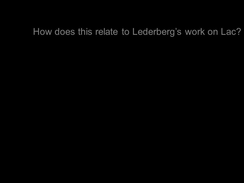 How does this relate to Lederberg's work on Lac?