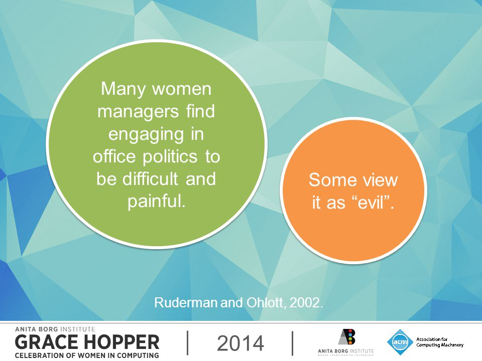 2014 Many women managers find engaging in office politics to be difficult and painful.
