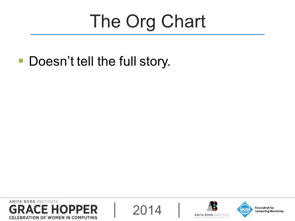 2014 The Org Chart  Doesn't tell the full story.