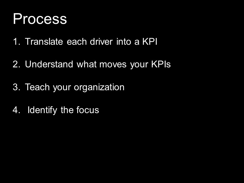 Process 1.Translate each driver into a KPI 2.Understand what moves your KPIs 3.Teach your organization 4. Identify the focus