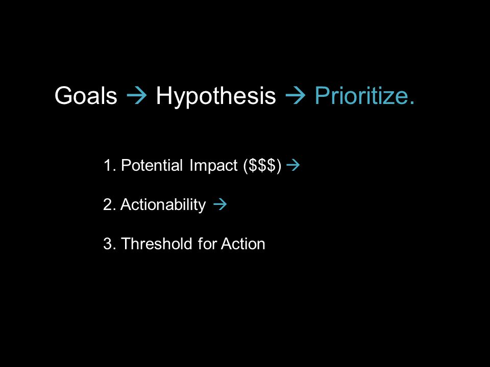 Goals  Hypothesis  Prioritize. 1. Potential Impact ($$$)  2. Actionability  3. Threshold for Action