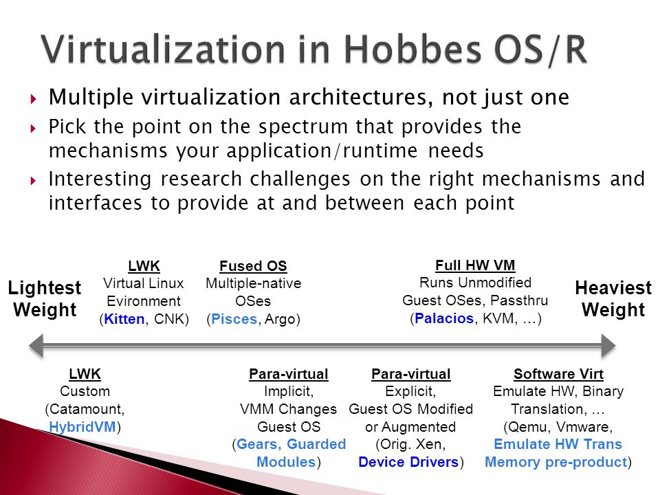  Multiple virtualization architectures, not just one  Pick the point on the spectrum that provides the mechanisms your application/runtime needs  Interesting research challenges on the right mechanisms and interfaces to provide at and between each point LWK Virtual Linux Evironment (Kitten, CNK) LWK Custom (Catamount, HybridVM) Heaviest Weight Fused OS Multiple-native OSes (Pisces, Argo) Para-virtual Implicit, VMM Changes Guest OS (Gears, Guarded Modules) Para-virtual Explicit, Guest OS Modified or Augmented (Orig.