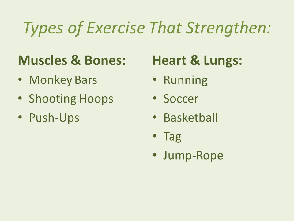 Types of Exercise That Strengthen: Muscles & Bones: Monkey Bars Shooting Hoops Push-Ups Heart & Lungs: Running Soccer Basketball Tag Jump-Rope