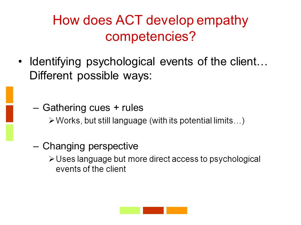 How does ACT develop empathy competencies? Identifying psychological events of the client… Different possible ways: –Gathering cues + rules  Works, b