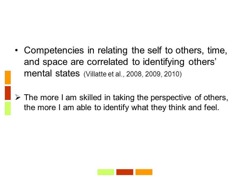 Competencies in relating the self to others, time, and space are correlated to identifying others' mental states (Villatte et al., 2008, 2009, 2010) 