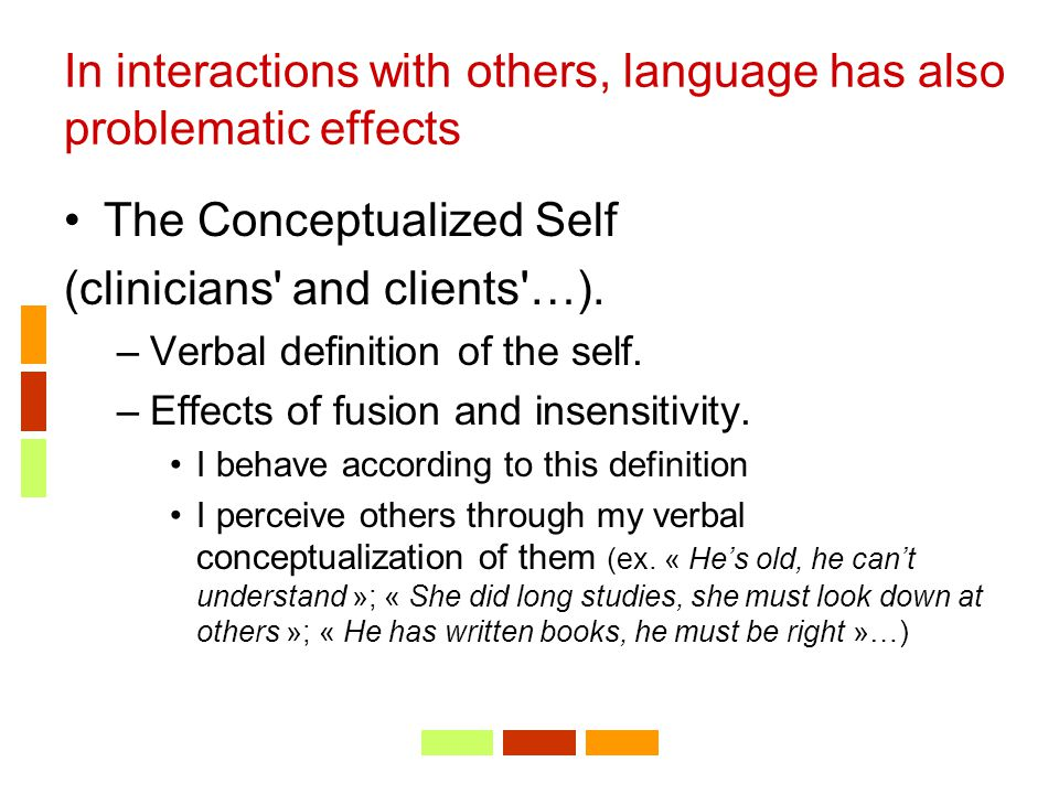 In interactions with others, language has also problematic effects The Conceptualized Self (clinicians' and clients'…). –Verbal definition of the self