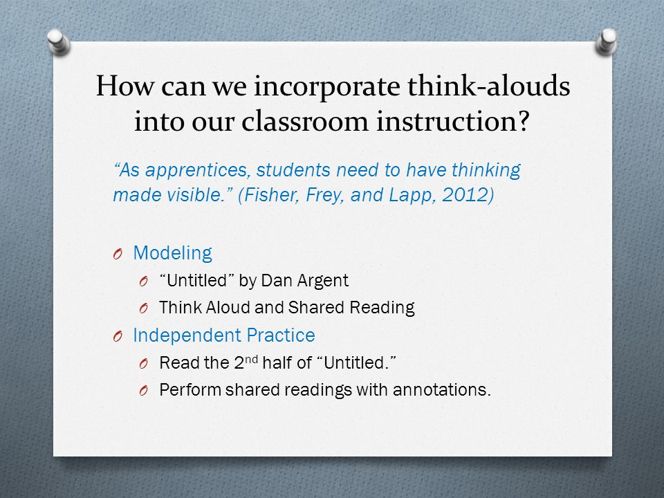 How can we incorporate think-alouds into our classroom instruction.
