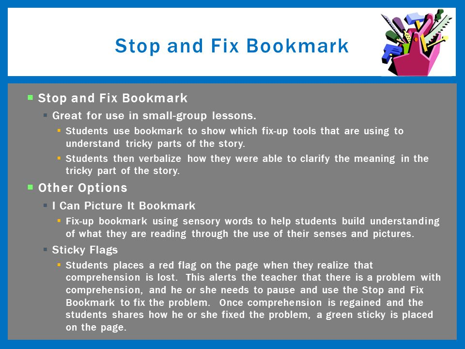  Stop and Fix Bookmark  Great for use in small-group lessons.
