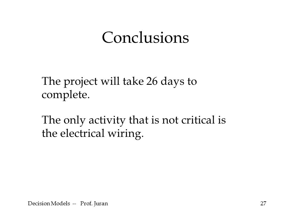 Decision Models -- Prof. Juran27 Conclusions The project will take 26 days to complete.