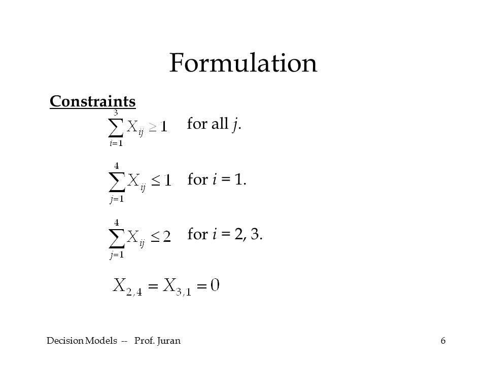 Decision Models -- Prof.Juran37 Formulation Constraints The project must be finished in 20 days.