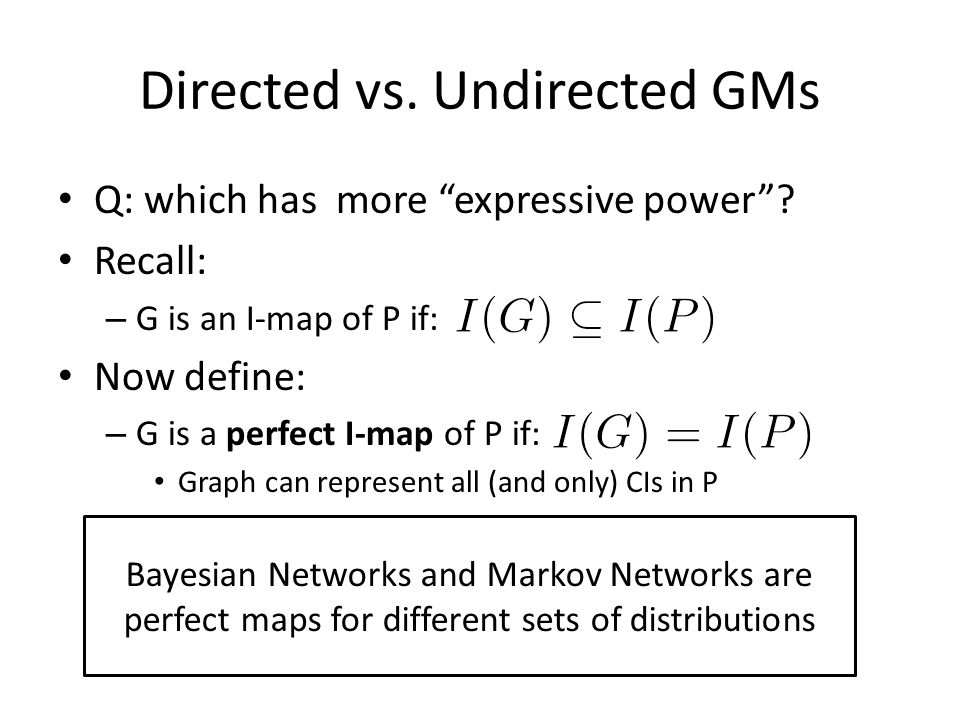 """Directed vs. Undirected GMs Q: which has more """"expressive power""""? Recall: – G is an I-map of P if: Now define: – G is a perfect I-map of P if: Graph c"""