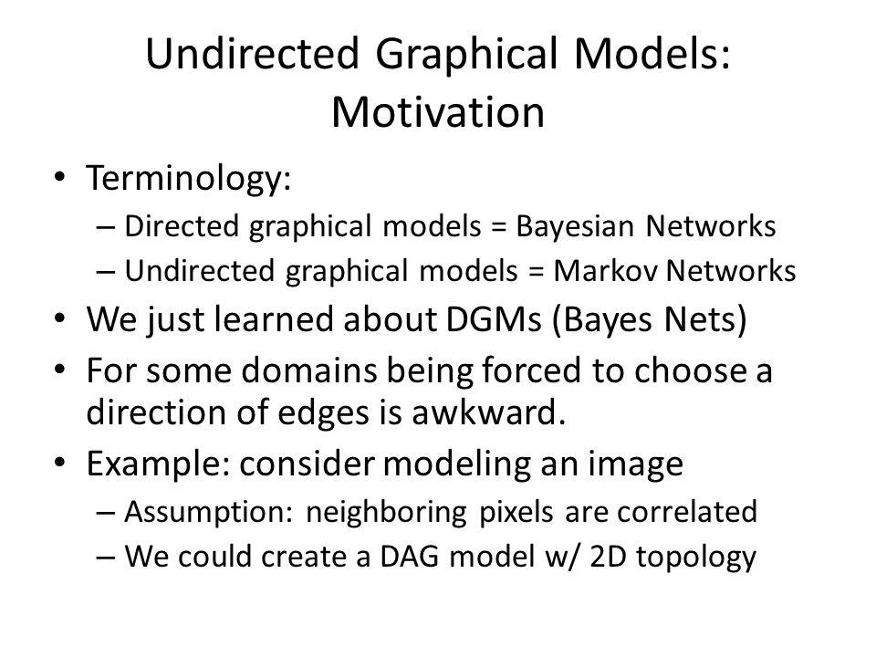 Undirected Graphical Models: Motivation Terminology: – Directed graphical models = Bayesian Networks – Undirected graphical models = Markov Networks W