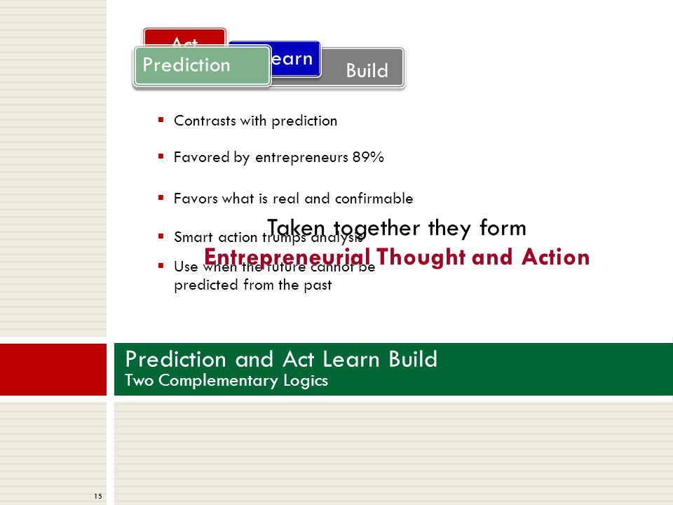 15 Prediction and Act Learn Build Two Complementary Logics  Contrasts with prediction  Favored by entrepreneurs 89%  Favors what is real and confirmable  Smart action trumps analysis  Use when the future cannot be predicted from the past Build Learn Act Prediction Taken together they form Entrepreneurial Thought and Action