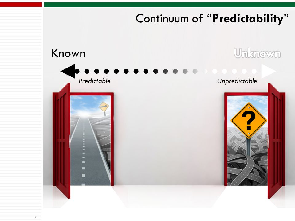 Continuum of Predictability 2 Known UnpredictablePredictable