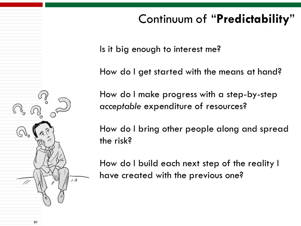 Continuum of Predictability 20 Is it big enough to interest me.