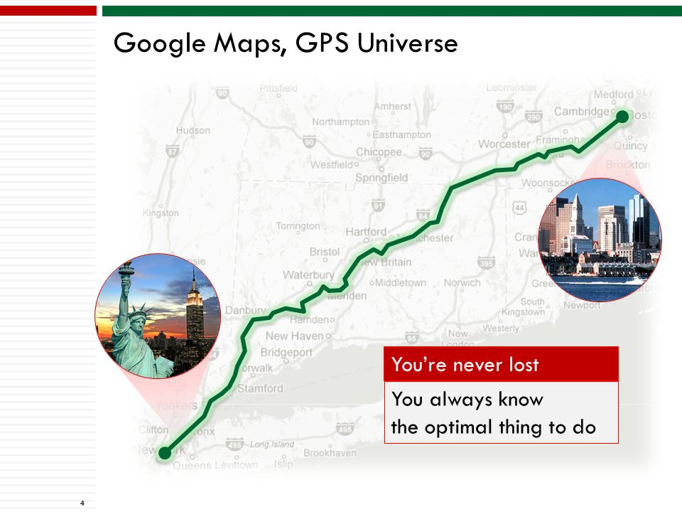Google Maps, GPS Universe 4 You always know the optimal thing to do You're never lost