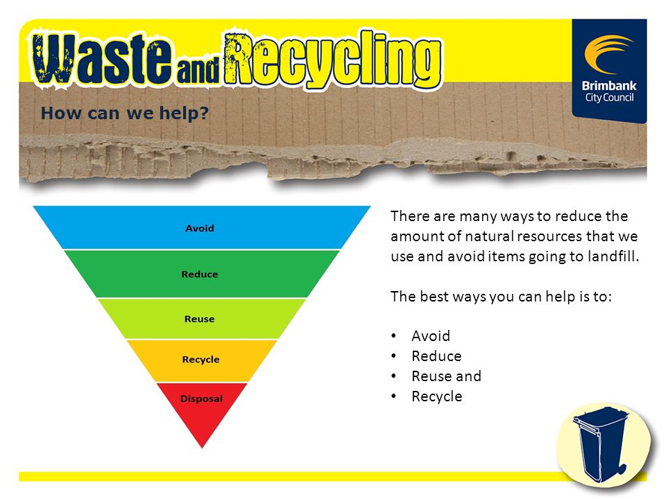 How can we help? There are many ways to reduce the amount of natural resources that we use and avoid items going to landfill. The best ways you can he