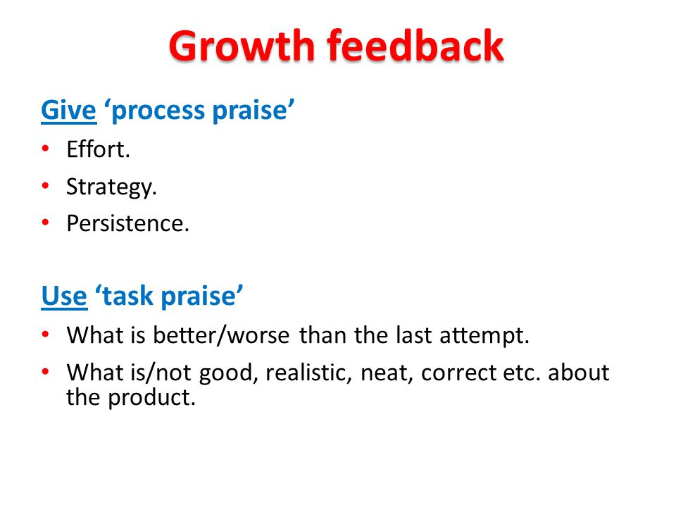 Give 'process praise' Effort. Strategy. Persistence. Use 'task praise' What is better/worse than the last attempt. What is/not good, realistic, neat,