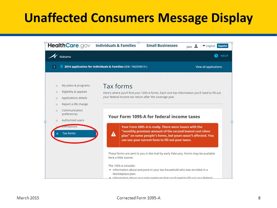 March 20158 Unaffected Consumers Message Display Corrected Form 1095-A