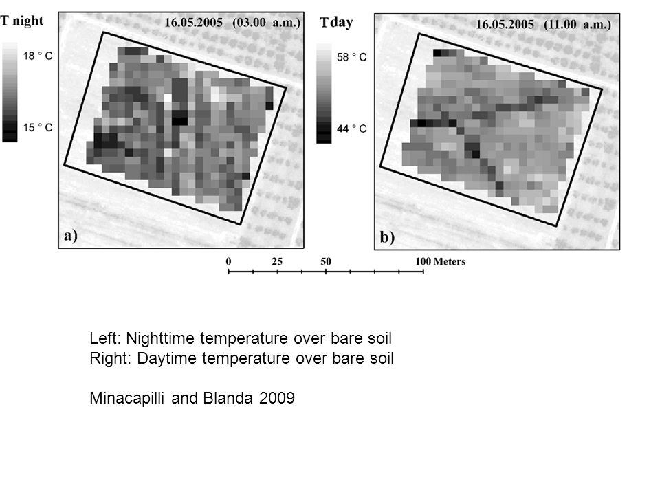 Left: Nighttime temperature over bare soil Right: Daytime temperature over bare soil Minacapilli and Blanda 2009