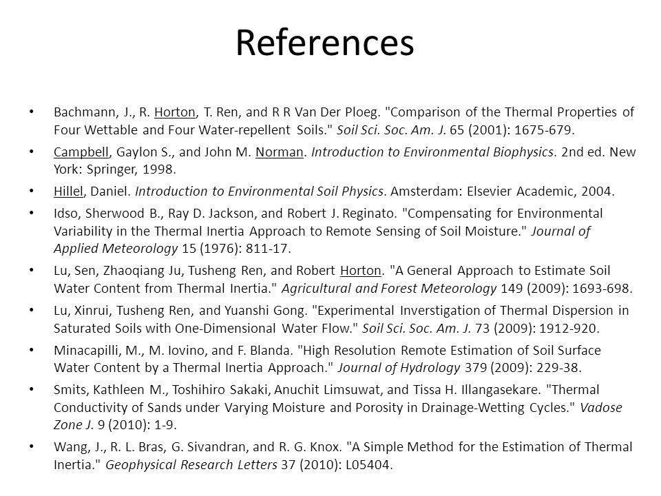 References Bachmann, J., R. Horton, T. Ren, and R R Van Der Ploeg.