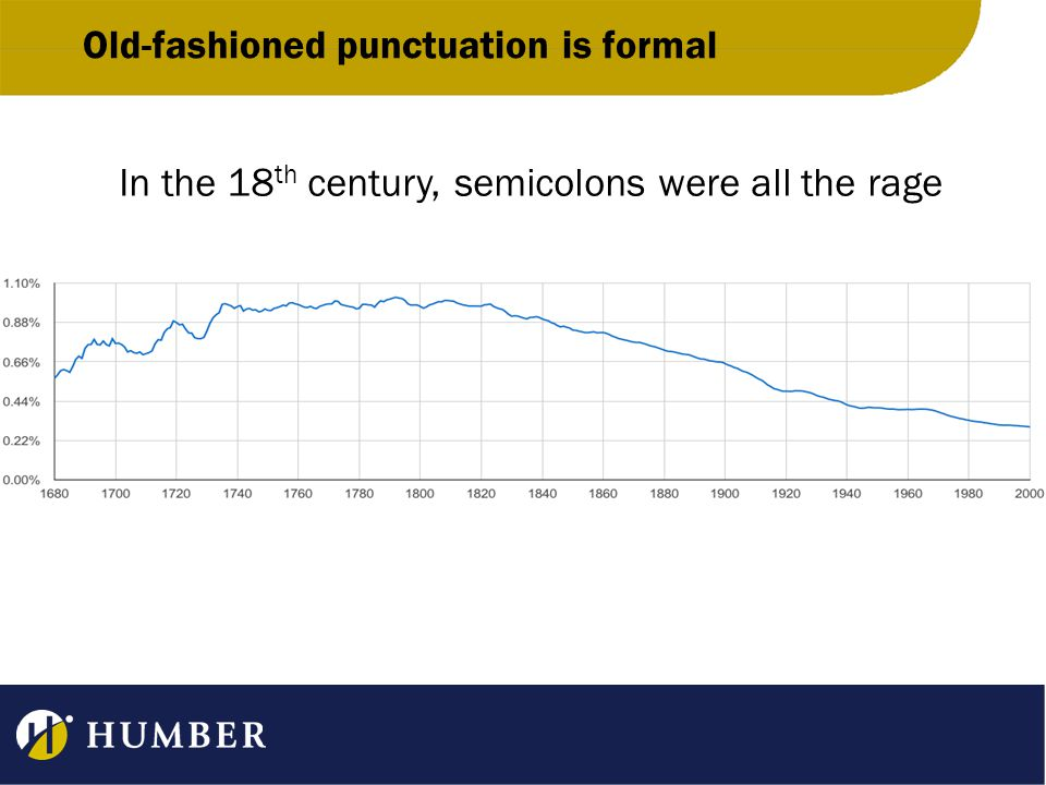 Old-fashioned punctuation is formal In the 18 th century, semicolons were all the rage