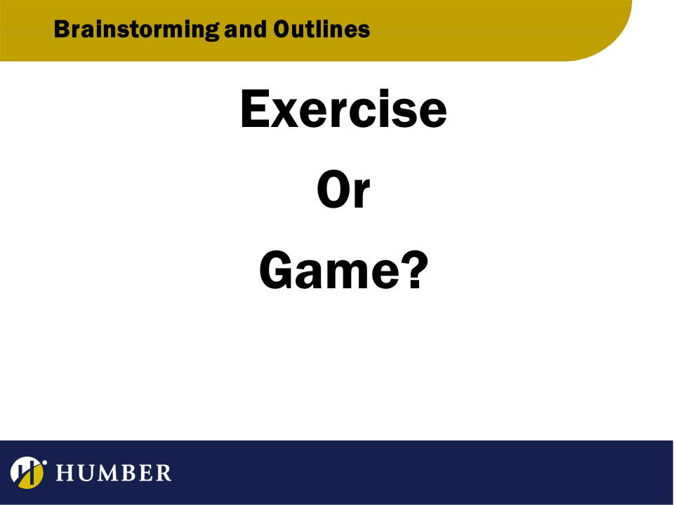 Brainstorming and Outlines Exercise Or Game