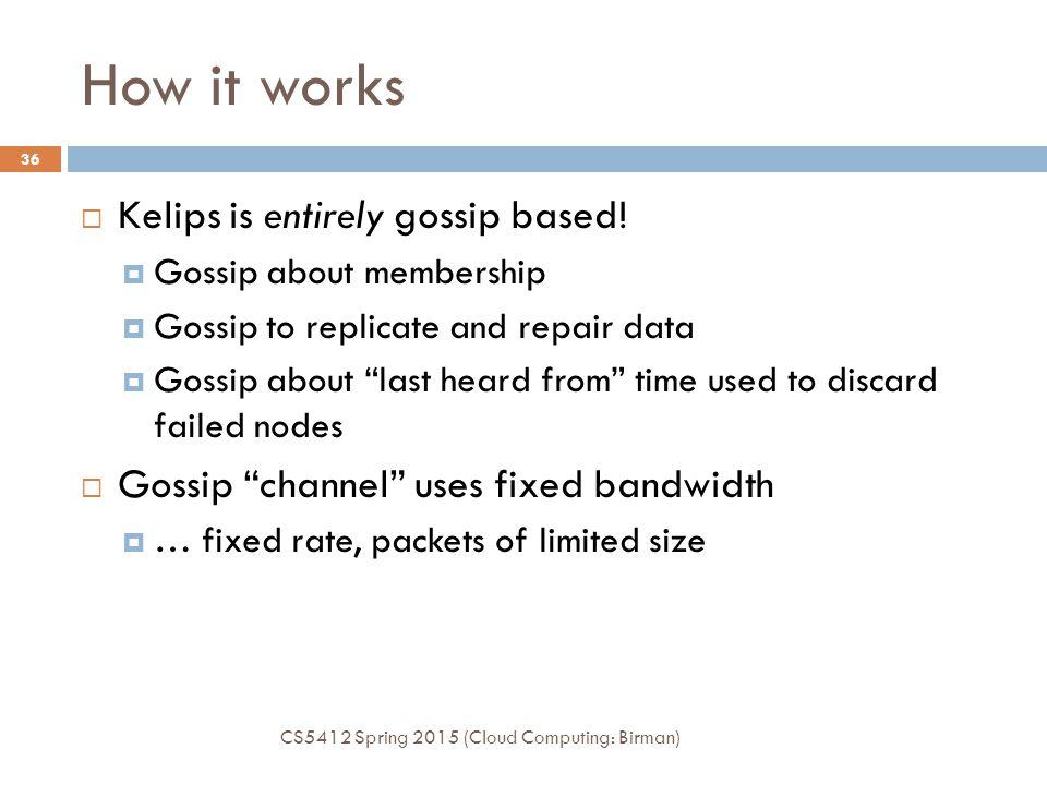 How it works  Kelips is entirely gossip based.