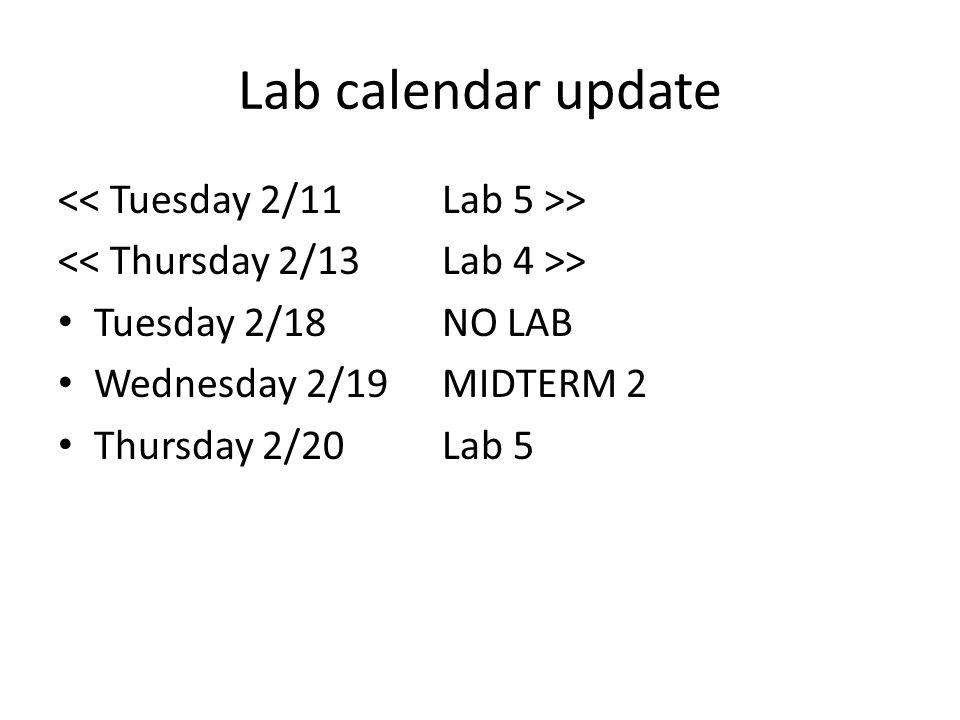 Lab calendar update > Tuesday 2/18NO LAB Wednesday 2/19MIDTERM 2 Thursday 2/20Lab 5