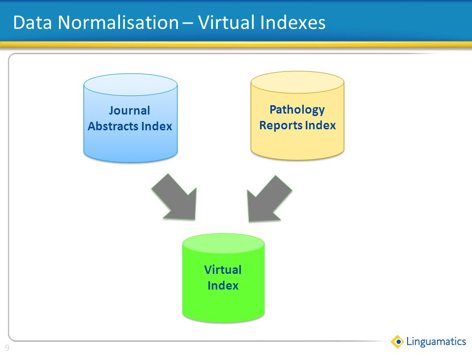 Click to edit Master title style 9 Data Normalisation – Virtual Indexes Pathology Reports Index Journal Abstracts Index Virtual Index