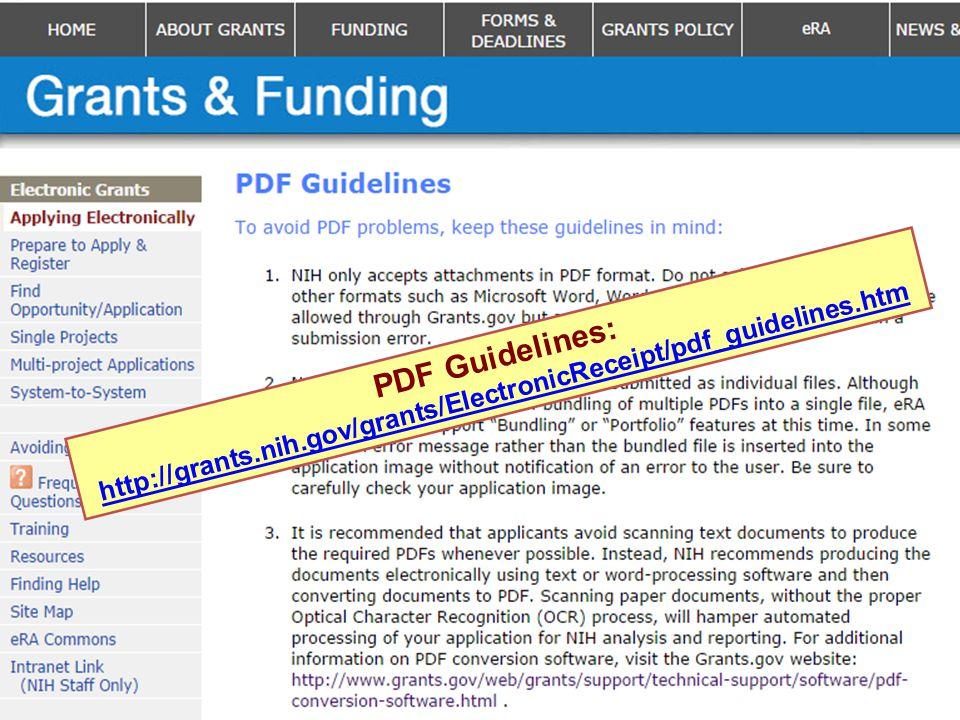 PDF Guidelines: http://grants.nih.gov/grants/ElectronicReceipt/pdf_guidelines.htm