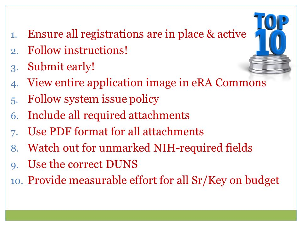 1. Ensure all registrations are in place & active 2.