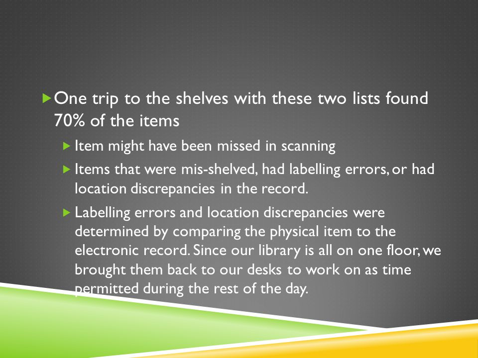  One trip to the shelves with these two lists found 70% of the items  Item might have been missed in scanning  Items that were mis-shelved, had labelling errors, or had location discrepancies in the record.