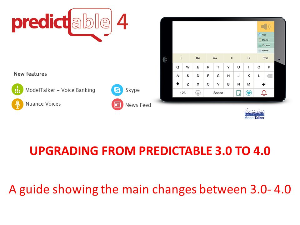 UPGRADING FROM PREDICTABLE 3.0 TO 4.0 A guide showing the main changes between 3.0- 4.0