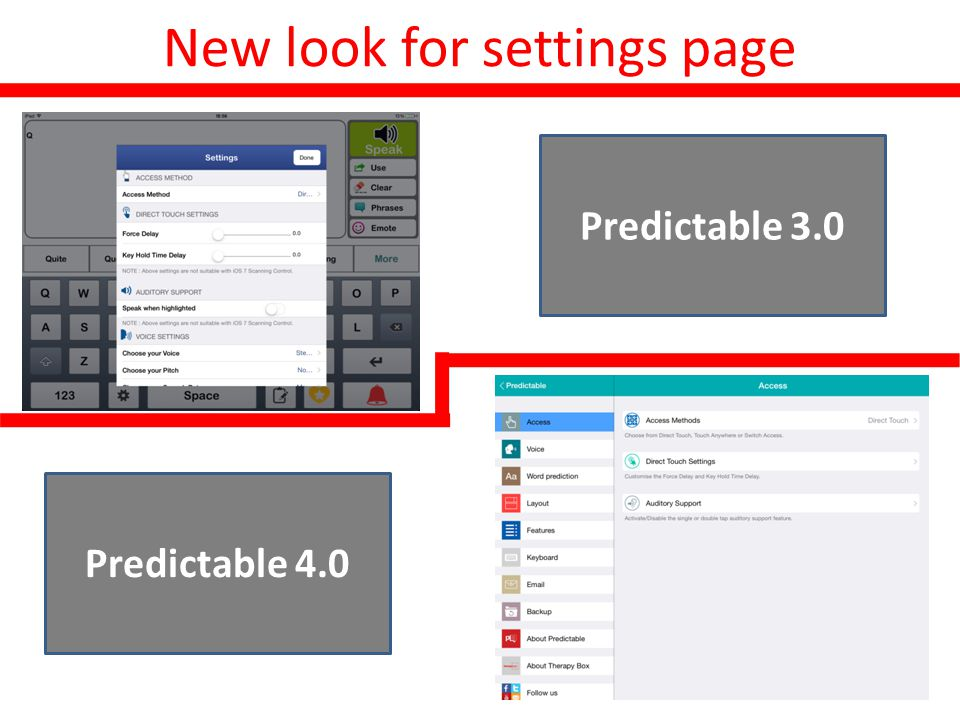 New look for settings page Before Predictable 3.0 Predictable 4.0
