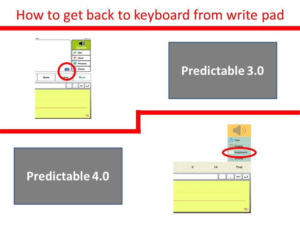 How to get back to keyboard from write pad Before Predictable 3.0 Predictable 4.0