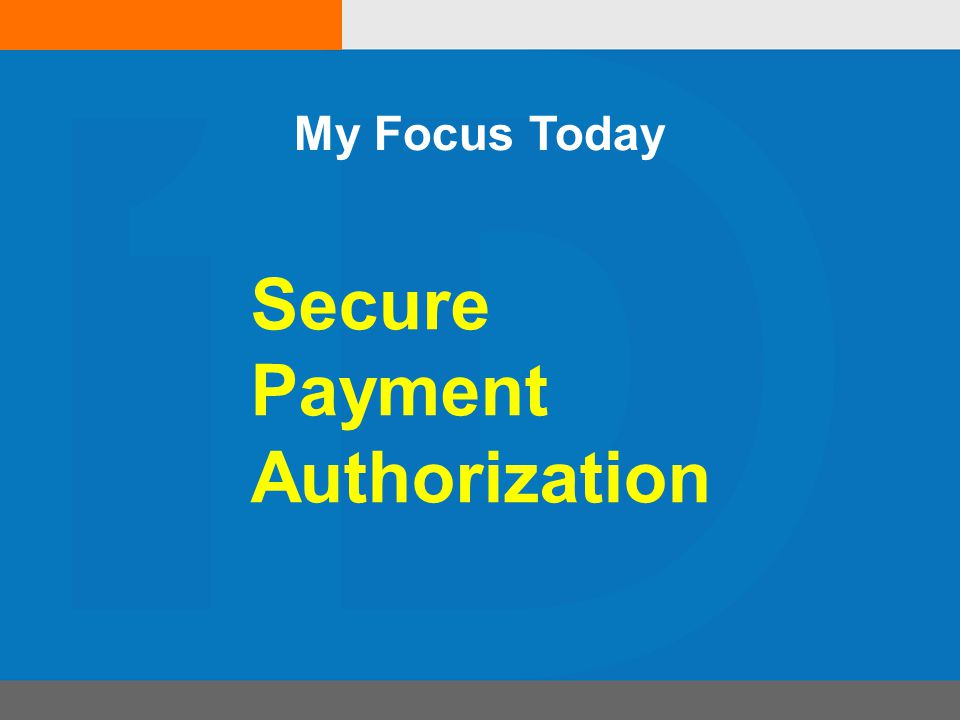 Secure Payment Authorization My Focus Today