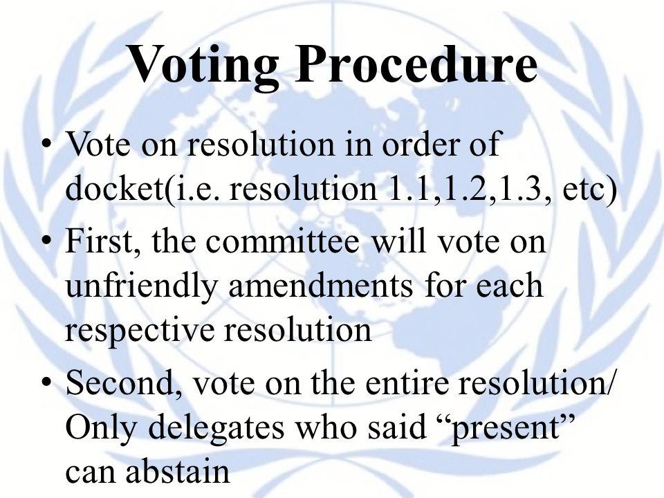 Voting Procedure Vote on resolution in order of docket(i.e.