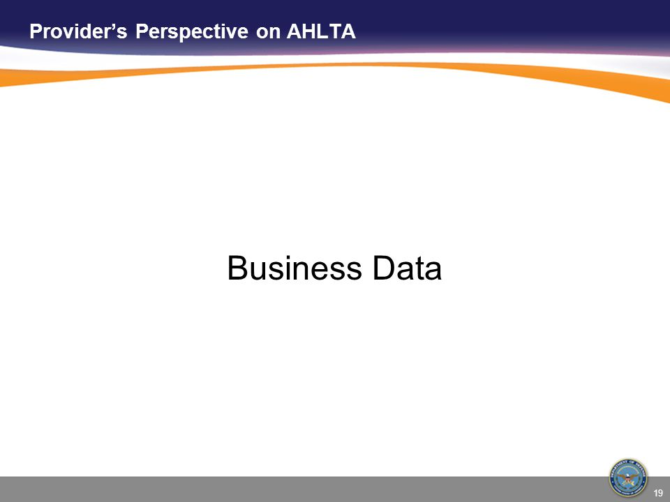 19 Provider's Perspective on AHLTA Business Data