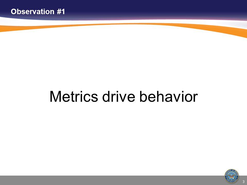 3 Observation #1 Metrics drive behavior
