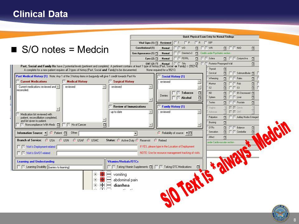 8 Clinical Data S/O notes = Medcin