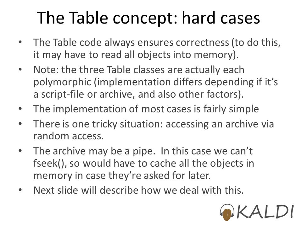 The Table concept: hard cases The Table code always ensures correctness (to do this, it may have to read all objects into memory).