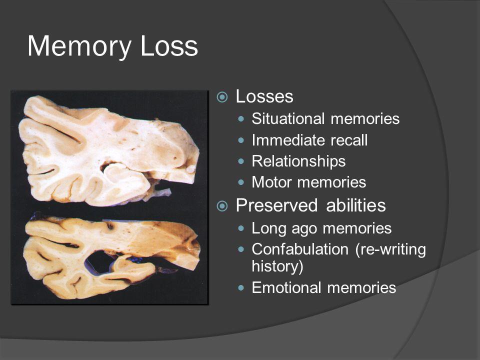 Memory Loss  Losses Situational memories Immediate recall Relationships Motor memories  Preserved abilities Long ago memories Confabulation (re-writing history) Emotional memories