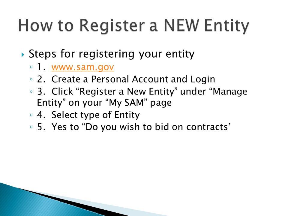 Steps for registering your entity ◦ 1. www.sam.govwww.sam.gov ◦ 2.