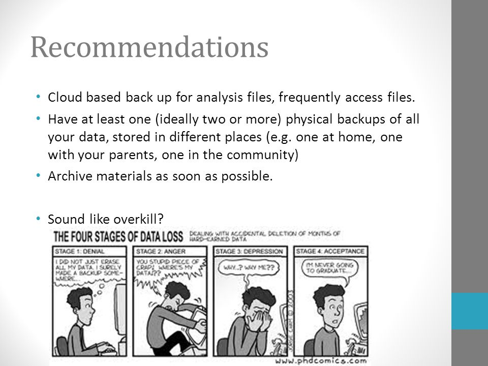 Recommendations Cloud based back up for analysis files, frequently access files. Have at least one (ideally two or more) physical backups of all your
