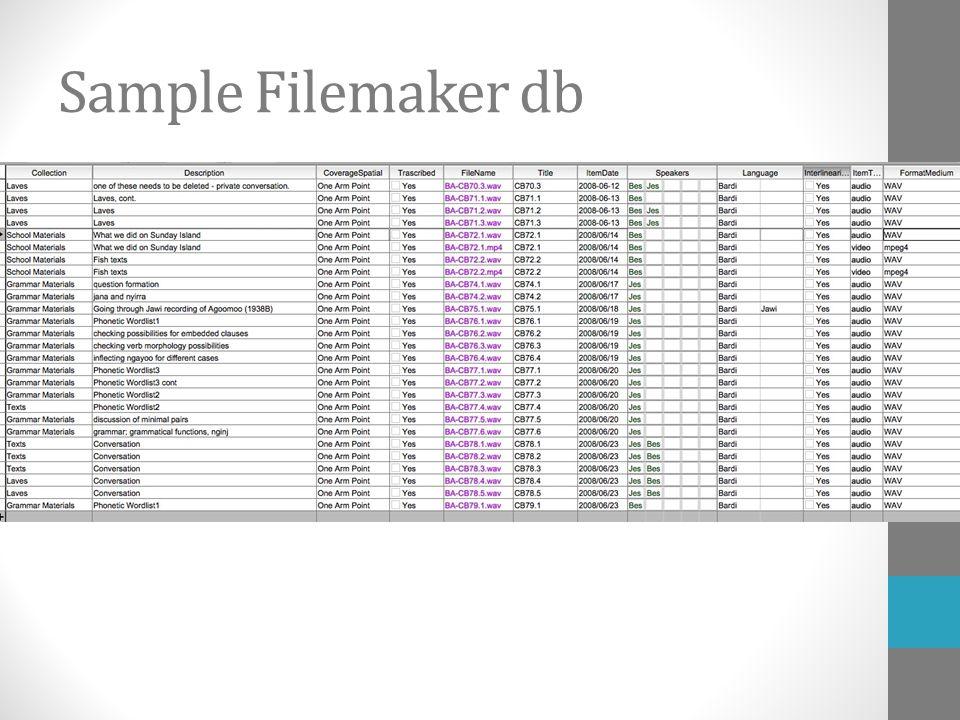 Sample Filemaker db