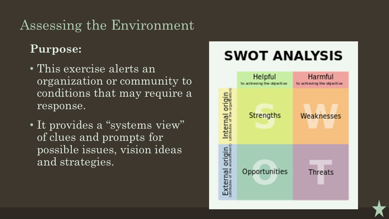 "Assessing the Environment Purpose: This exercise alerts an organization or community to conditions that may require a response. It provides a ""systems"